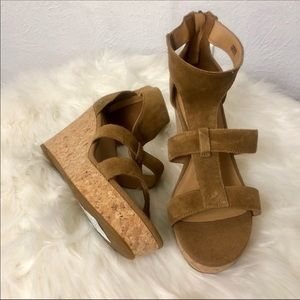Ugg Suede Wedge Sandals - Sz 10